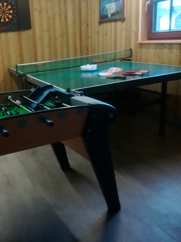Games room with kicker, darts and Ping Pong table